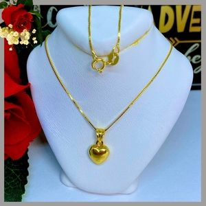 18K Real Gold Heart Necklace